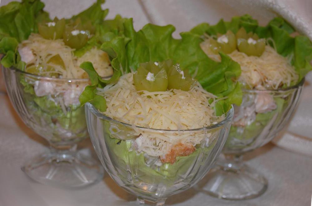 рецепт салата жульен с курицей и грибами