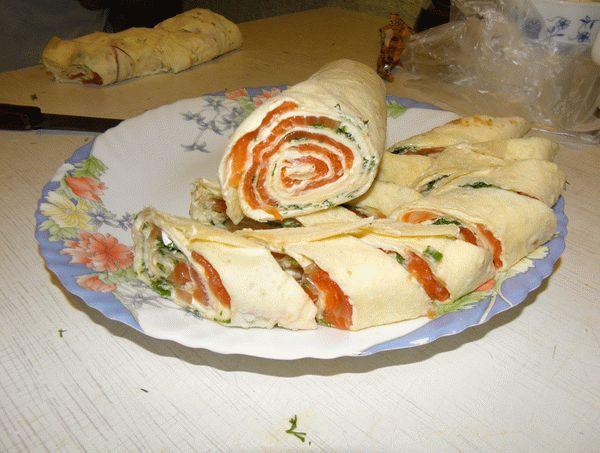 рецепт рулет из семги в лаваше