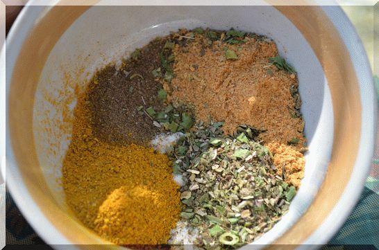 перемешиваем: соль, черный перец, карри, сухие итальянские травы и сухую аджику.