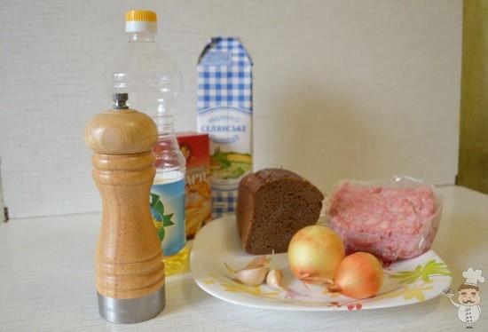 ингредиенты для приготовления котлет из черного хлеба