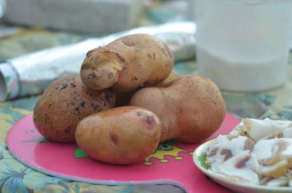 Картошка с салом в духовке в фольге