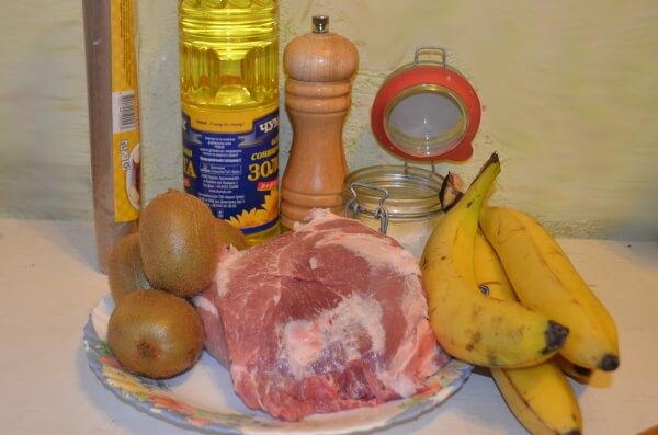 Ингредиенты для отбивной с бананом и киви