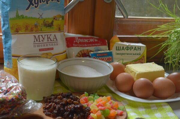Ингредиенты для пасхального кулича в мультиварке